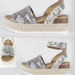 Shoes - Coming Soon!! Snake Espadrille platform sandal